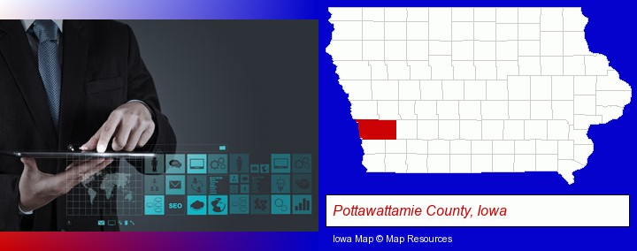 information technology concepts; Pottawattamie County, Iowa highlighted in red on a map