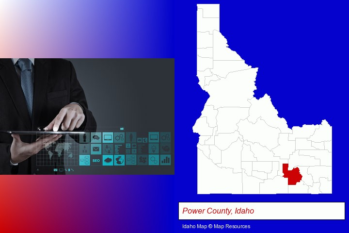 information technology concepts; Power County, Idaho highlighted in red on a map