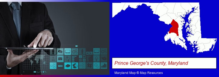 information technology concepts; Prince George's County, Maryland highlighted in red on a map