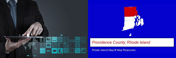 information technology concepts; Providence County, Rhode Island highlighted in red on a map