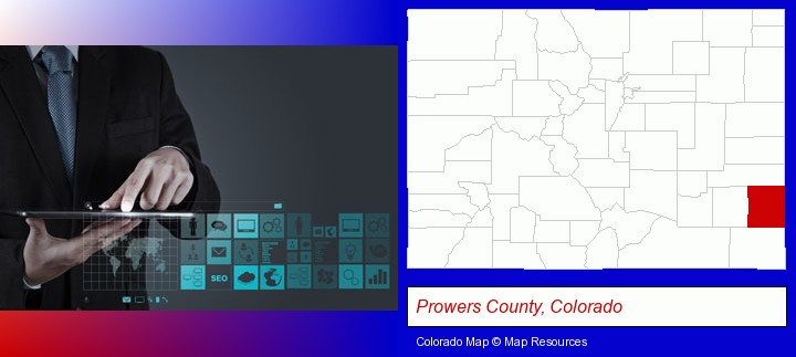 information technology concepts; Prowers County, Colorado highlighted in red on a map