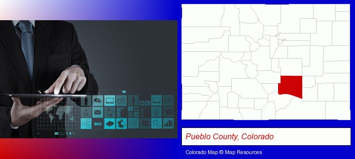 information technology concepts; Pueblo County, Colorado highlighted in red on a map