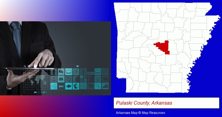 information technology concepts; Pulaski County, Arkansas highlighted in red on a map