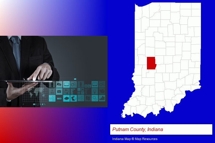 information technology concepts; Putnam County, Indiana highlighted in red on a map