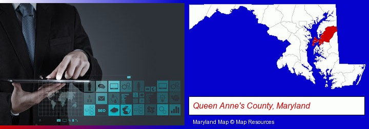 information technology concepts; Queen Anne's County, Maryland highlighted in red on a map