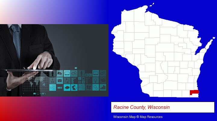 information technology concepts; Racine County, Wisconsin highlighted in red on a map