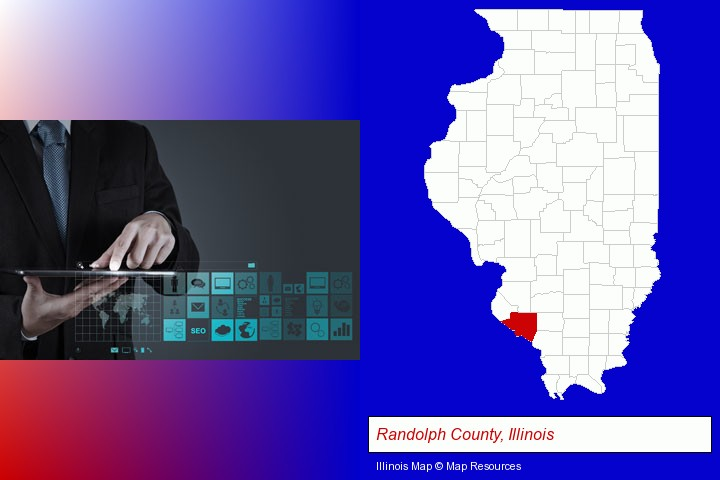 information technology concepts; Randolph County, Illinois highlighted in red on a map