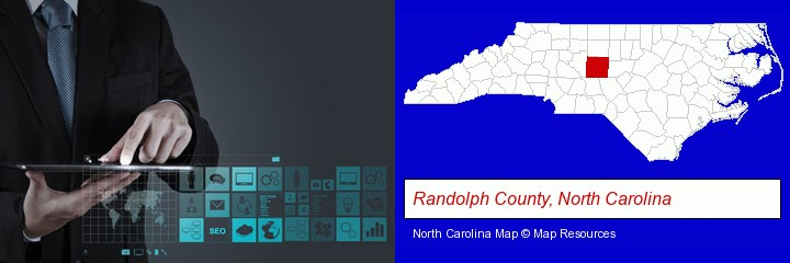 information technology concepts; Randolph County, North Carolina highlighted in red on a map