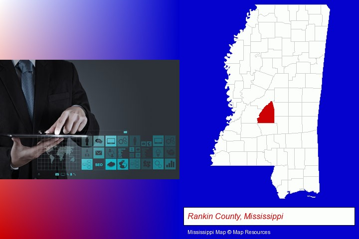 information technology concepts; Rankin County, Mississippi highlighted in red on a map