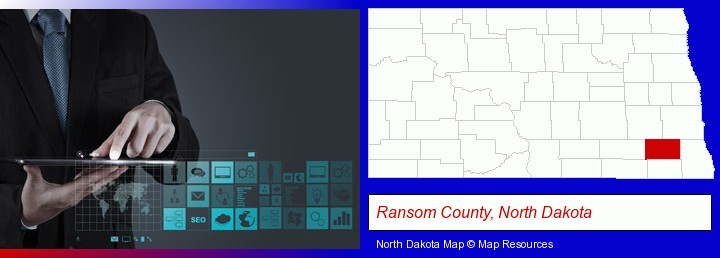 information technology concepts; Ransom County, North Dakota highlighted in red on a map