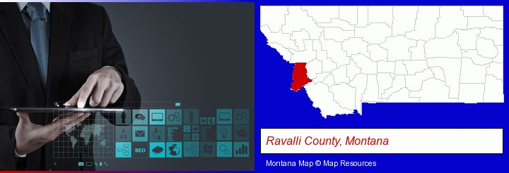 information technology concepts; Ravalli County, Montana highlighted in red on a map