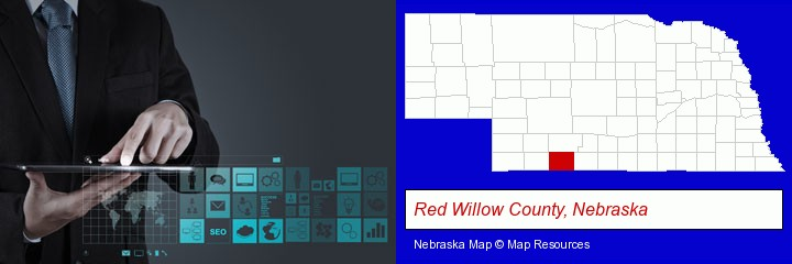 information technology concepts; Red Willow County, Nebraska highlighted in red on a map