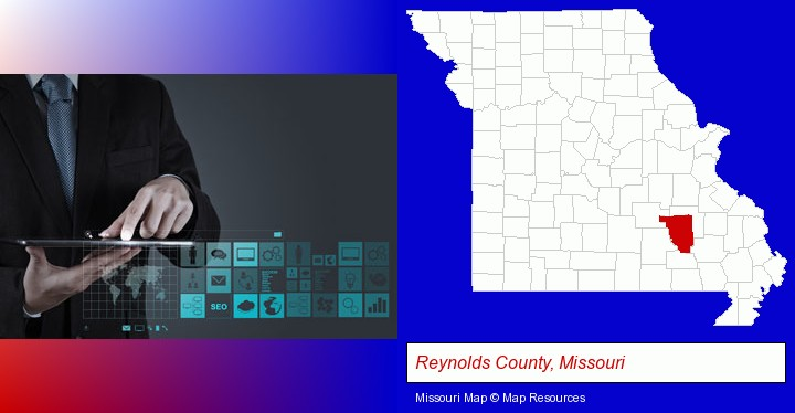 information technology concepts; Reynolds County, Missouri highlighted in red on a map