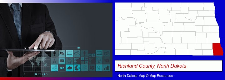 information technology concepts; Richland County, North Dakota highlighted in red on a map