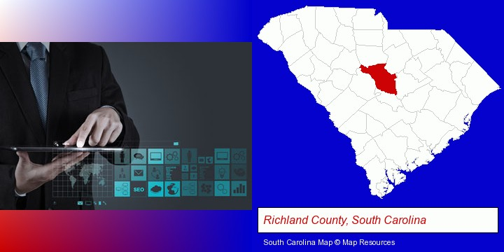 information technology concepts; Richland County, South Carolina highlighted in red on a map