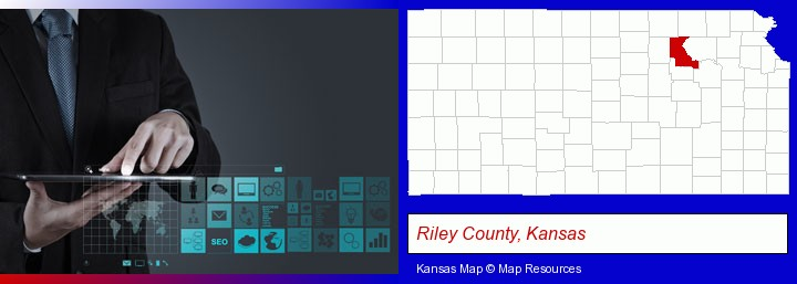 information technology concepts; Riley County, Kansas highlighted in red on a map