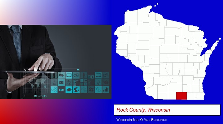 information technology concepts; Rock County, Wisconsin highlighted in red on a map
