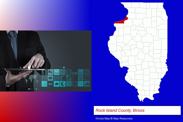 information technology concepts; Rock Island County, Illinois highlighted in red on a map