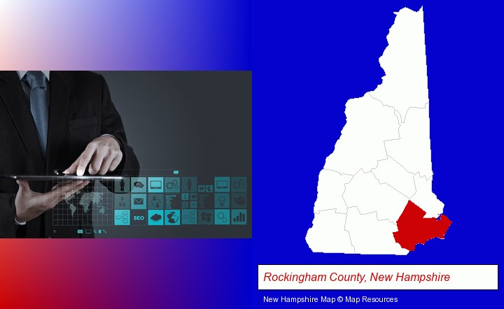 information technology concepts; Rockingham County, New Hampshire highlighted in red on a map