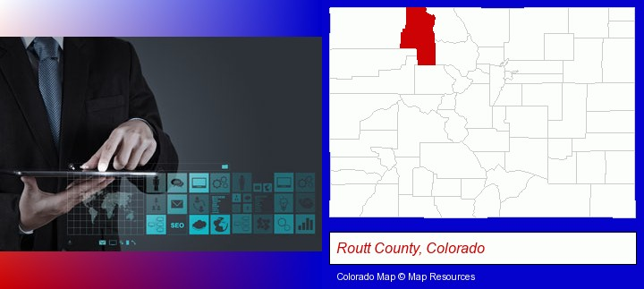 information technology concepts; Routt County, Colorado highlighted in red on a map