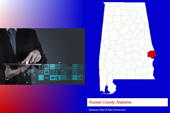information technology concepts; Russell County, Alabama highlighted in red on a map