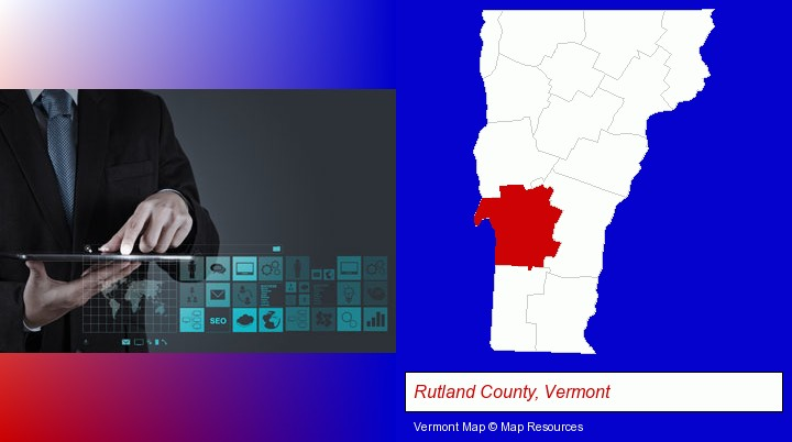 information technology concepts; Rutland County, Vermont highlighted in red on a map