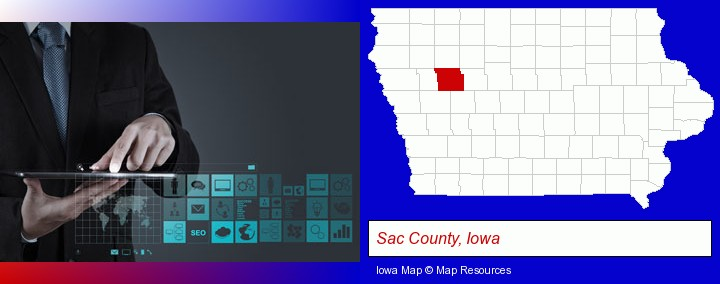 information technology concepts; Sac County, Iowa highlighted in red on a map
