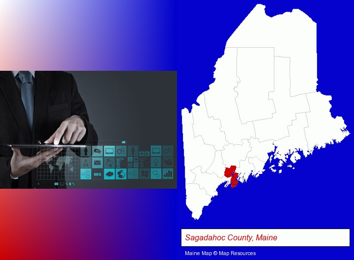 information technology concepts; Sagadahoc County, Maine highlighted in red on a map