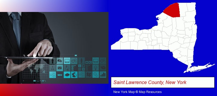 information technology concepts; Saint Lawrence County, New York highlighted in red on a map