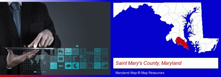 information technology concepts; Saint Mary's County, Maryland highlighted in red on a map