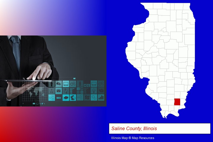 information technology concepts; Saline County, Illinois highlighted in red on a map
