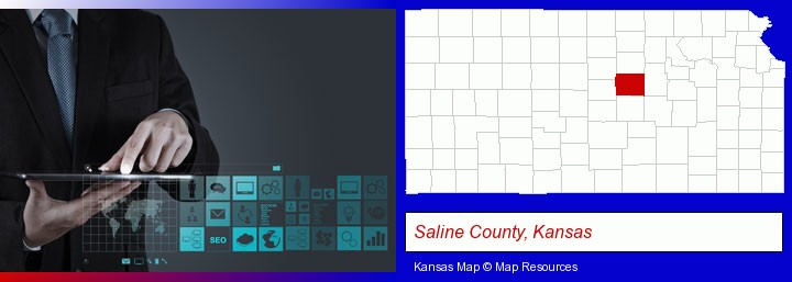 information technology concepts; Saline County, Kansas highlighted in red on a map