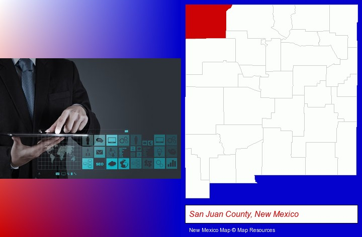information technology concepts; San Juan County, New Mexico highlighted in red on a map