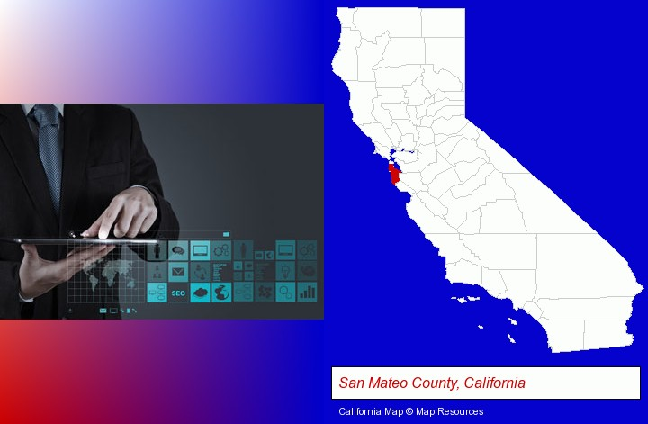 information technology concepts; San Mateo County, California highlighted in red on a map