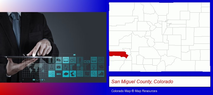 information technology concepts; San Miguel County, Colorado highlighted in red on a map