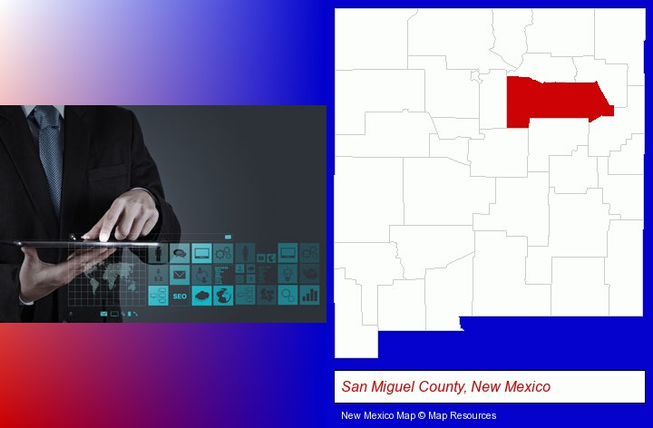 information technology concepts; San Miguel County, New Mexico highlighted in red on a map