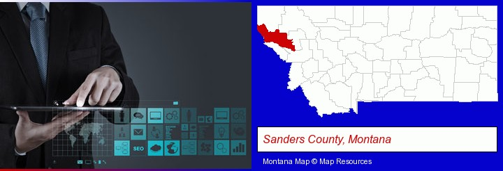 information technology concepts; Sanders County, Montana highlighted in red on a map
