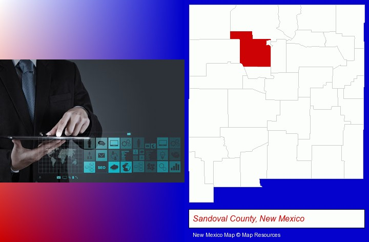 information technology concepts; Sandoval County, New Mexico highlighted in red on a map