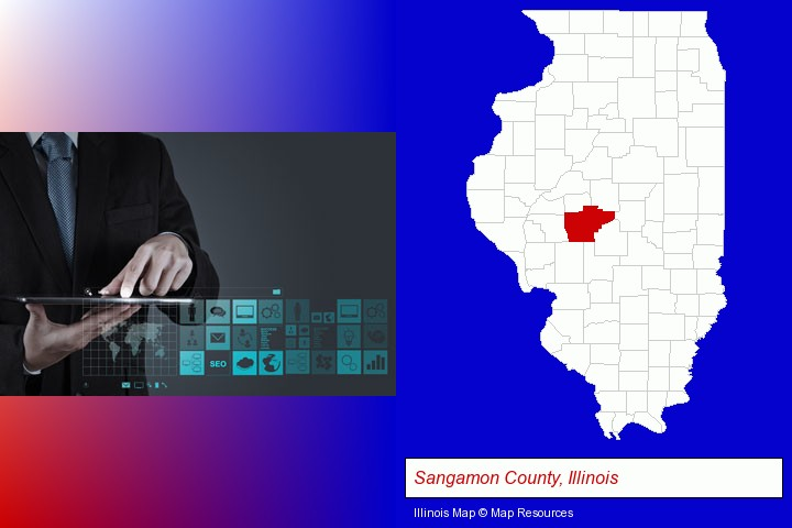 information technology concepts; Sangamon County, Illinois highlighted in red on a map