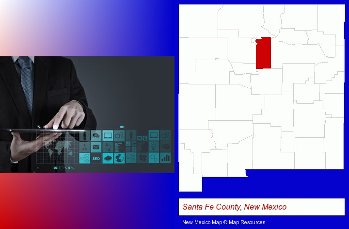 information technology concepts; Santa Fe County, New Mexico highlighted in red on a map