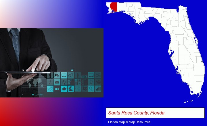 information technology concepts; Santa Rosa County, Florida highlighted in red on a map