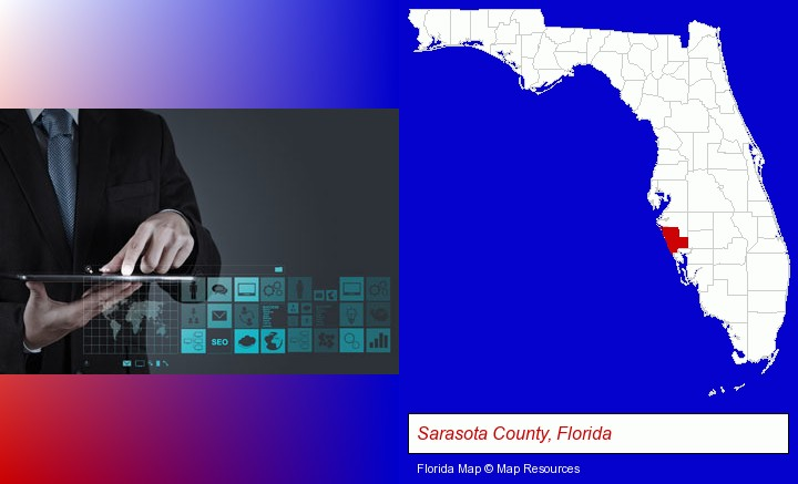 information technology concepts; Sarasota County, Florida highlighted in red on a map