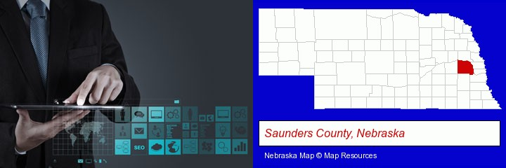 information technology concepts; Saunders County, Nebraska highlighted in red on a map