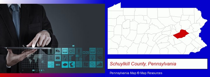 information technology concepts; Schuylkill County, Pennsylvania highlighted in red on a map