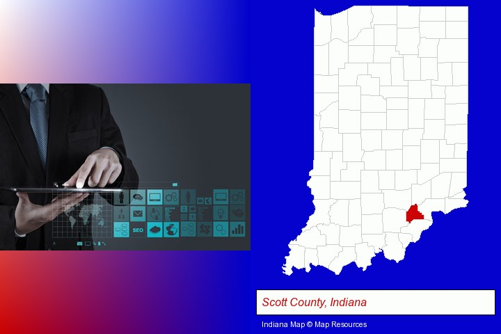information technology concepts; Scott County, Indiana highlighted in red on a map