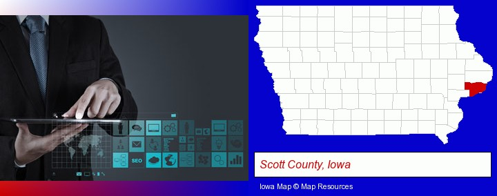 information technology concepts; Scott County, Iowa highlighted in red on a map