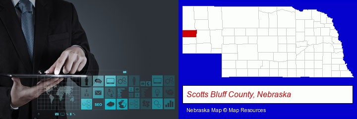 information technology concepts; Scotts Bluff County, Nebraska highlighted in red on a map
