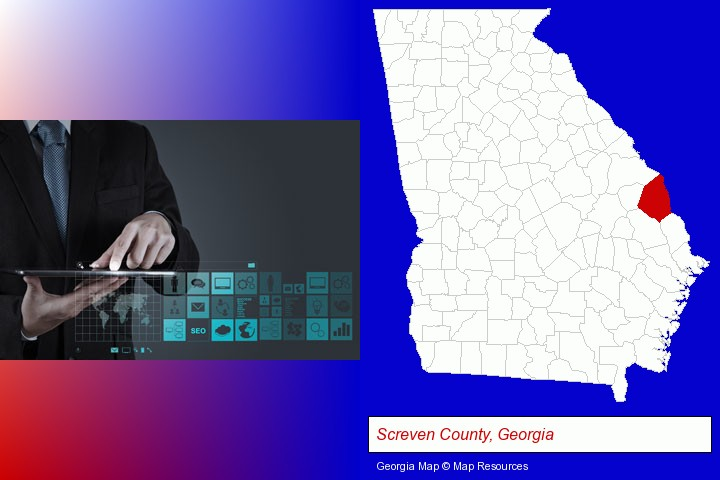 information technology concepts; Screven County, Georgia highlighted in red on a map