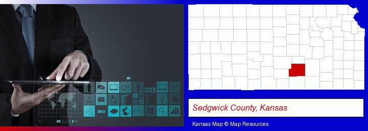 information technology concepts; Sedgwick County, Kansas highlighted in red on a map