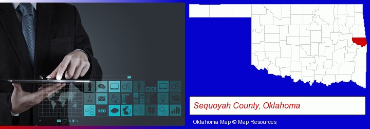 information technology concepts; Sequoyah County, Oklahoma highlighted in red on a map